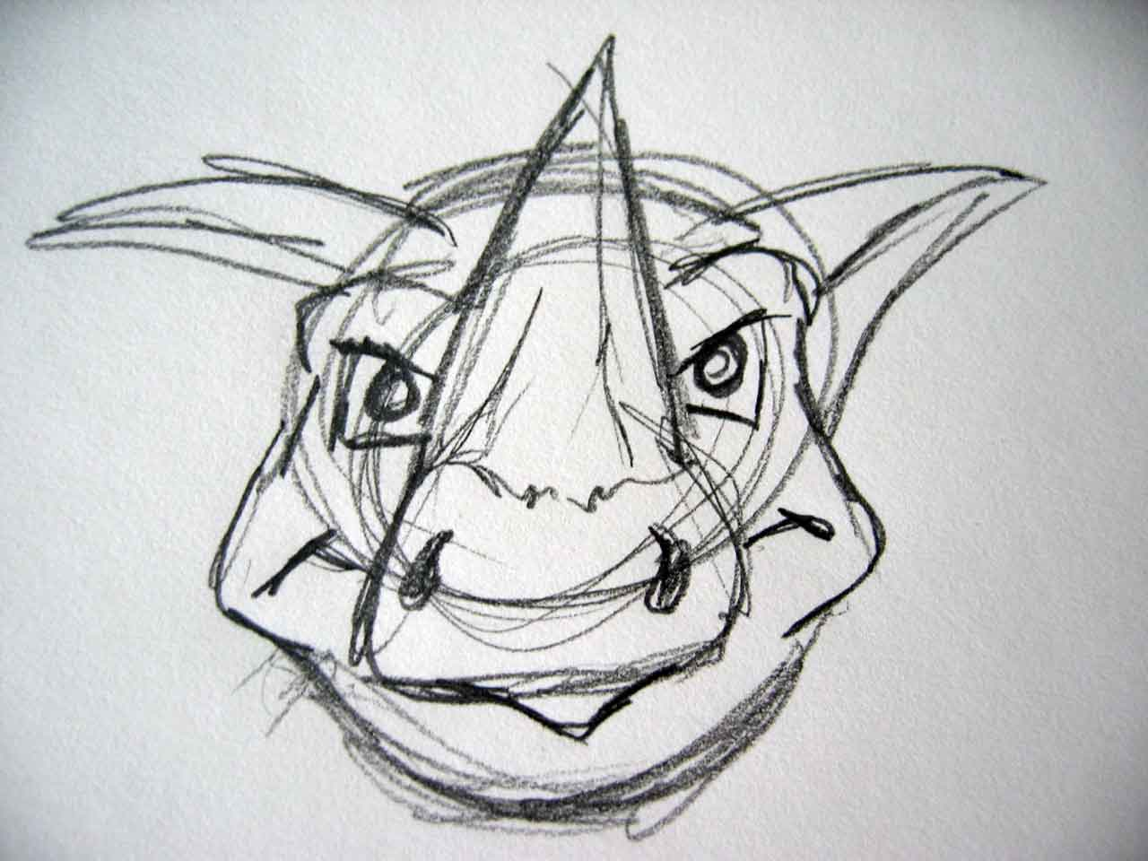A Rhino Head Sketch, Prepwork for the Sumo Rhino